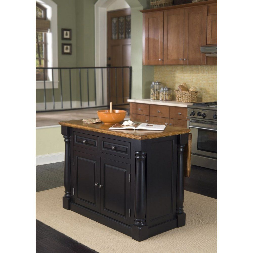Monarch Island Black And Distressed Oak Finish Homestyles Furniture 5008 94 In 2020 Kitchen Island With Granite Top Portable Kitchen Island Black Kitchen Island