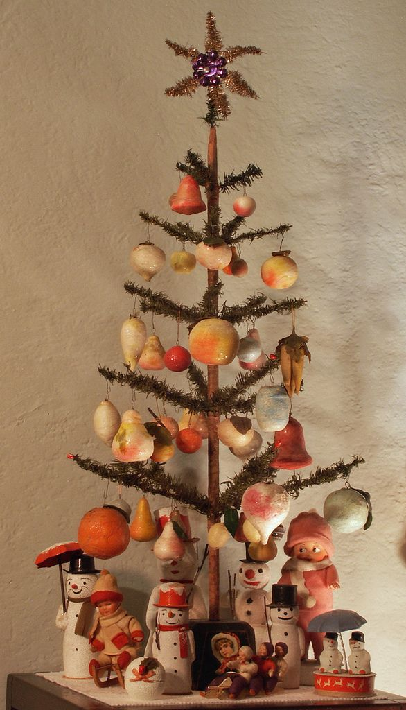 vintage german feather tree with spun cotton ornaments feather tree christmas time merry christmas - German Christmas Decorations Wholesale