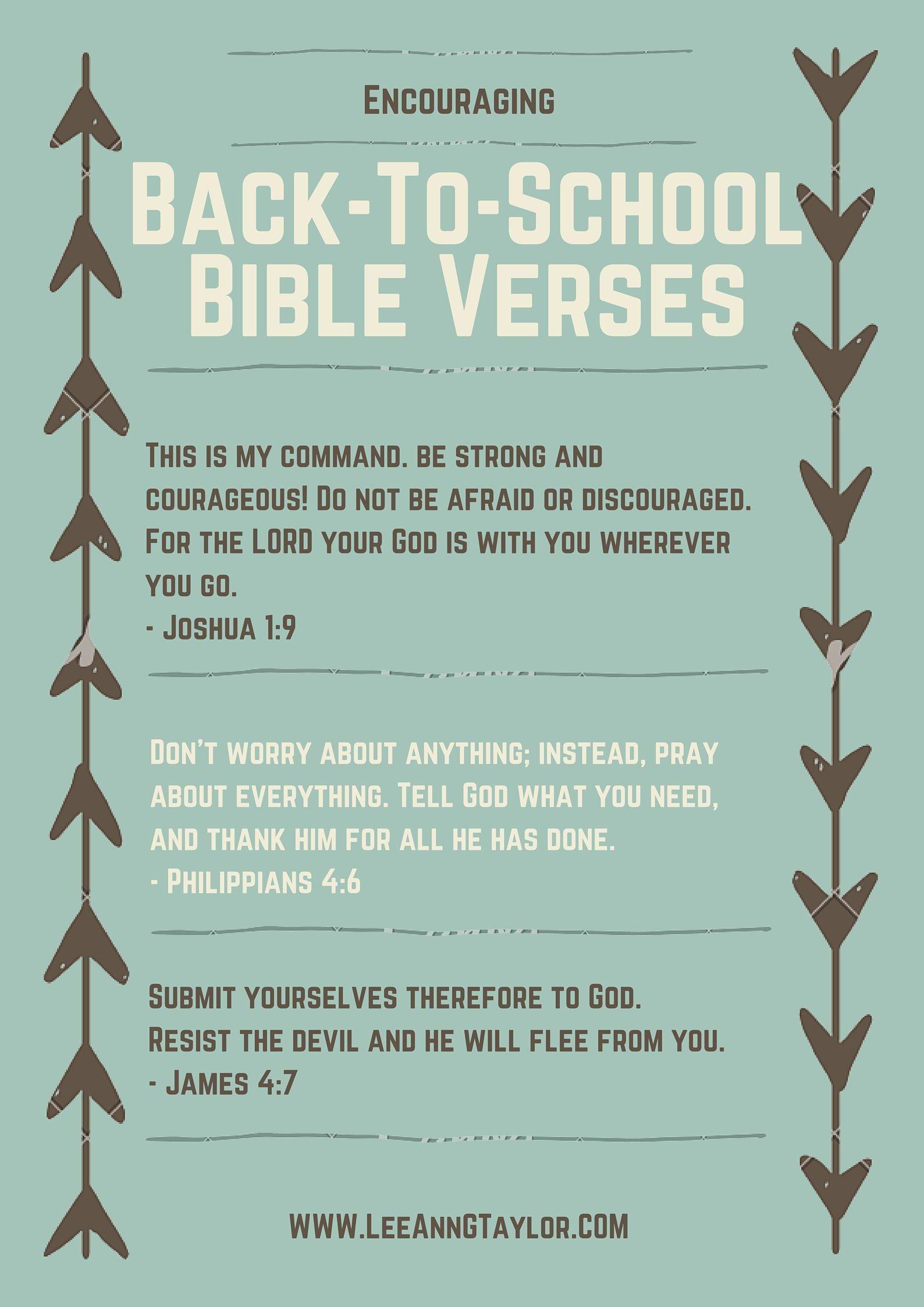 Encouraging Back to School Bible Verses {Free Printable | J E S U S ...