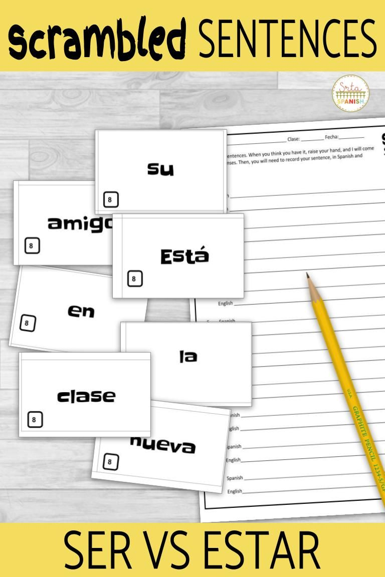 Ser Vs Estar Scrambled Sentences Activity Spanish Lesson Plans Sentence Activities High School Spanish [ 1152 x 768 Pixel ]