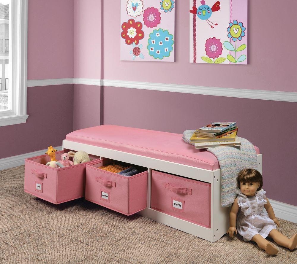 Storage Bench With Cushion Kid S Toy Box Organizer And Three Bins