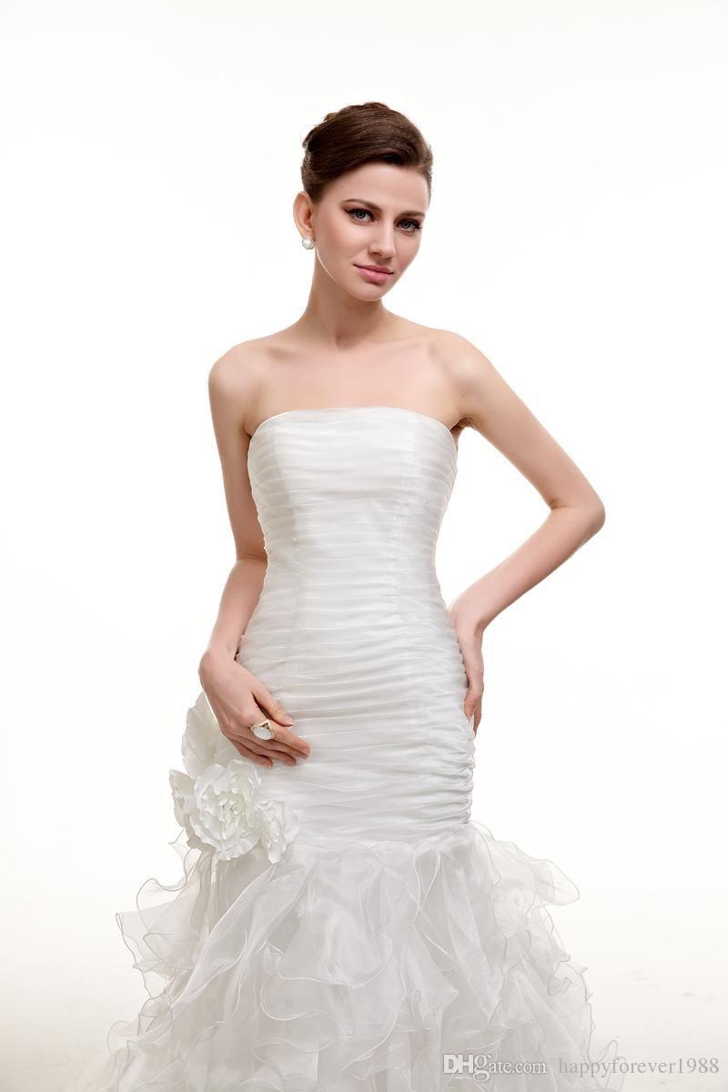 Elegant simple strapless organza long train mermaid wedding dresses