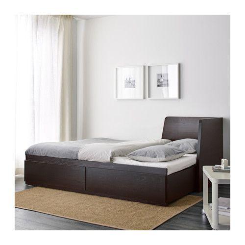 flekke divan av 2 tiroirs/2 matelas, brun noir, malfors mi-ferme