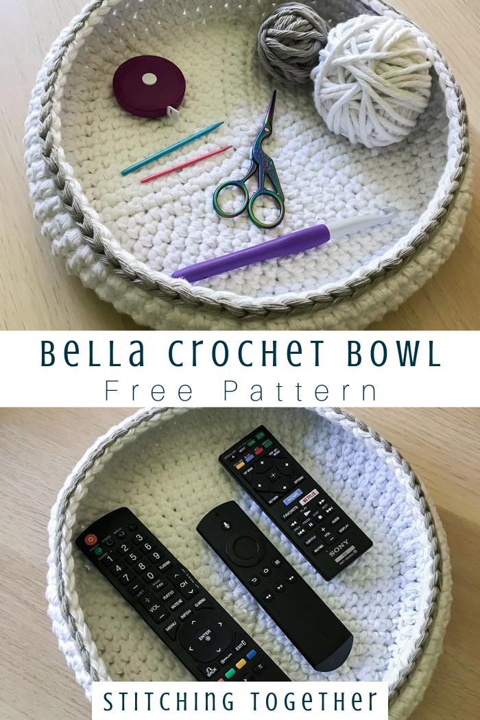 The Bella Crochet Bowl | Stitching Together #crochetbowl