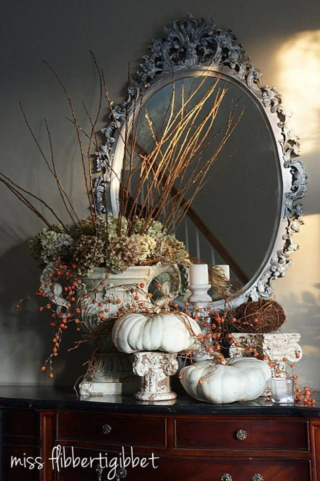 Very nice, neutral, vignette for Fall, love the pretty mirror, as well~❥ #falldecor
