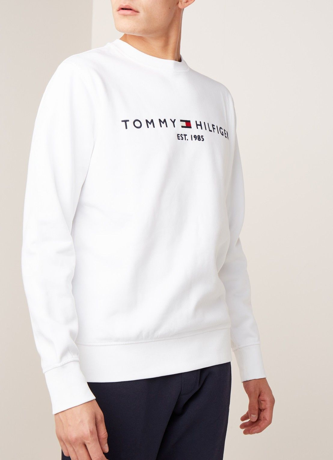 Tommy Hilfiger Sweater Met Logoborduring Wit Ropa Sudaderas