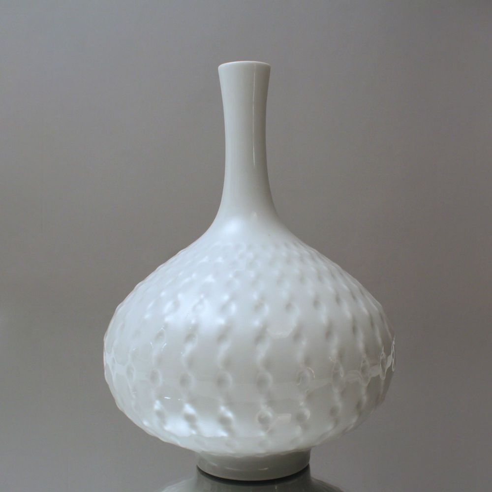 meissen vase kugelfisch nach ludwig zepner 1965 kugelvase relief weiss ddr mid century. Black Bedroom Furniture Sets. Home Design Ideas