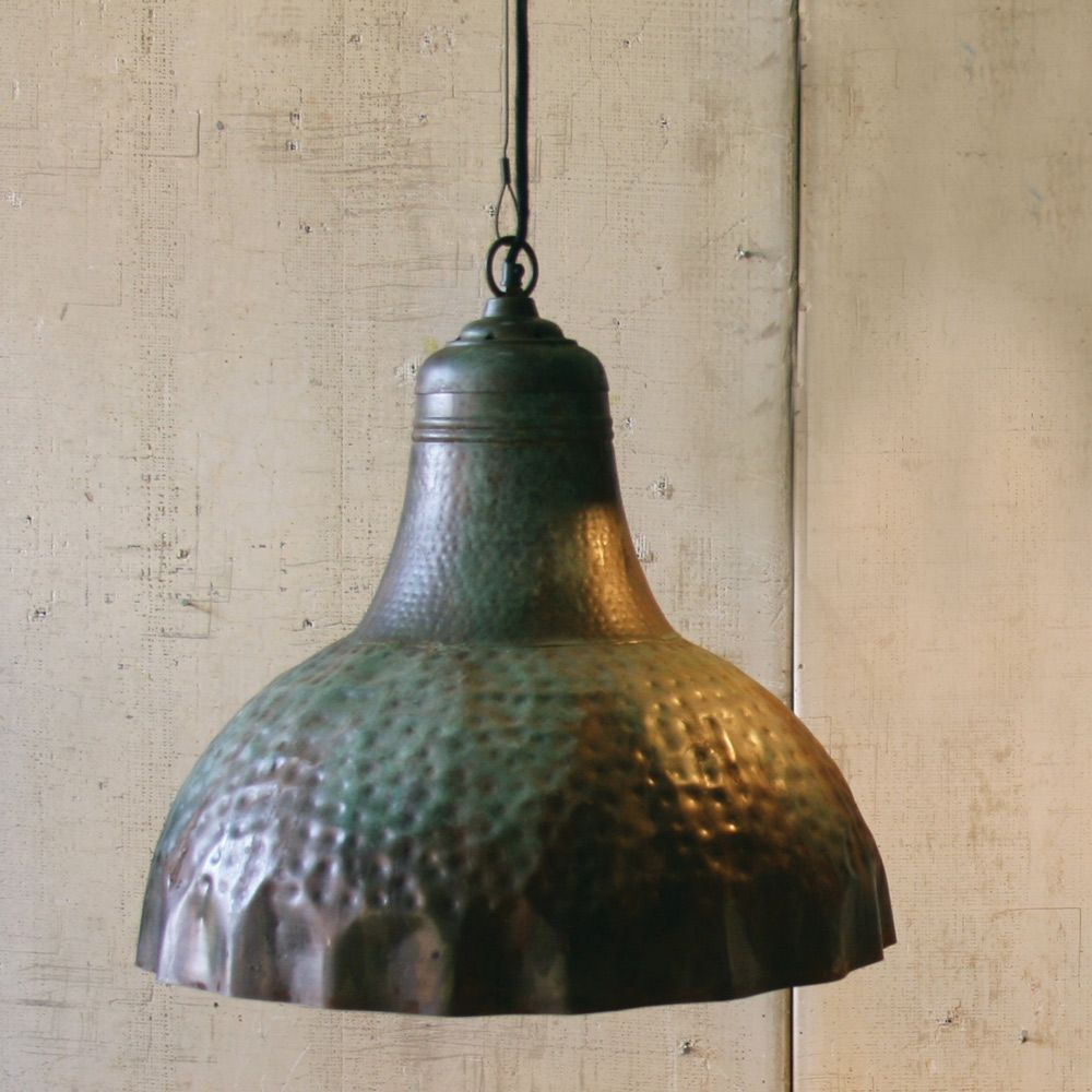 Hammered Metal Pendant Light With Green Patina   OVERSTOCK