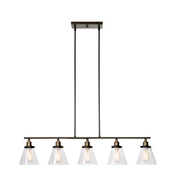 Fashioned after factory warehouse and barn lighting this five light kitchen island pendant effortlessly