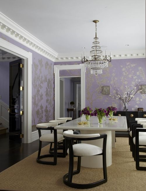 House Beautiful Magazine . Mary McGee design. Purple chinoiserie wallpaper