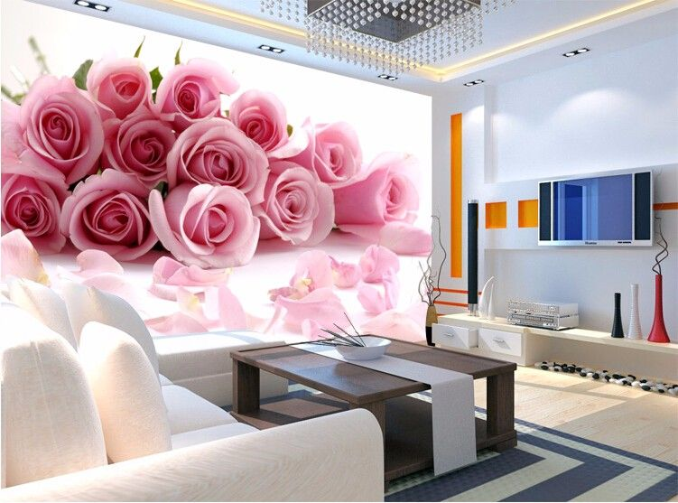 beibehang 3d photo wallpaper for Bedroom Pink Stereoscopic rose ...