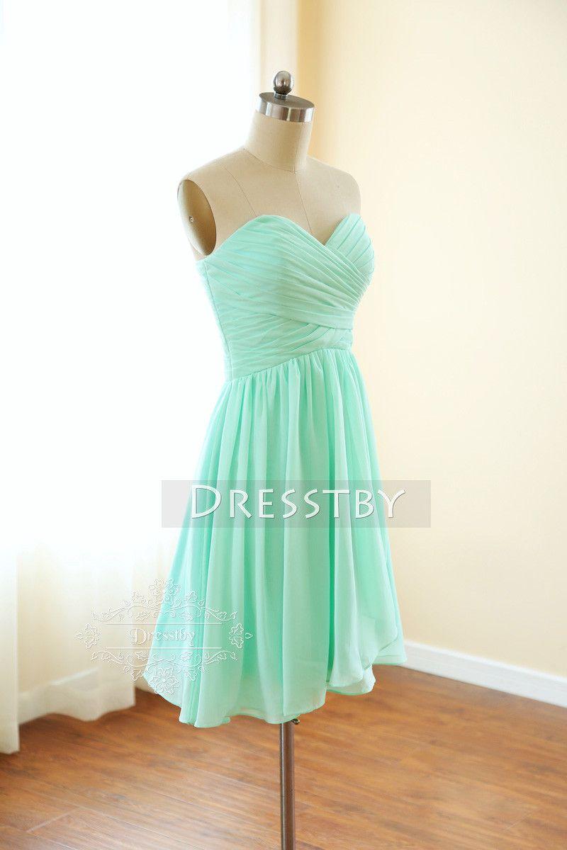 Simple aline chiffon green short prom dress green bridesmaid dress