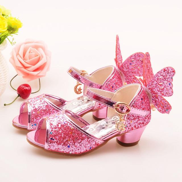 ULKNN Girls Sandals Rhinestone Butterfly pink Latin dance shoes 5-13 years  old 6 children 7 summer high Heel Princess shoes kids 9a7aacd13ba5
