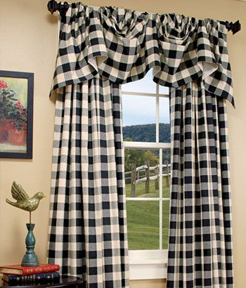 Buffalo Check Lined Austrian Valance This Comes In Navy Blue Check For Kitchen 65 Eac In 2020 Farmhouse Style Curtains Farmhouse Kitchen Curtains Farmhouse Curtains