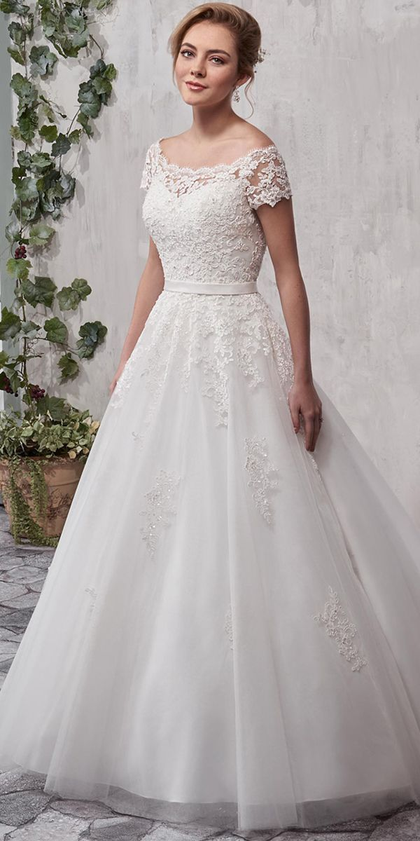 Magbridal Fabulous Tulle Off-the-shoulder Neckline A-line Wedding Dress With Beaded Lace Appliques & Belt #spitzeapplique