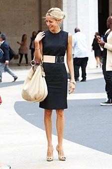 nude pumps black dress
