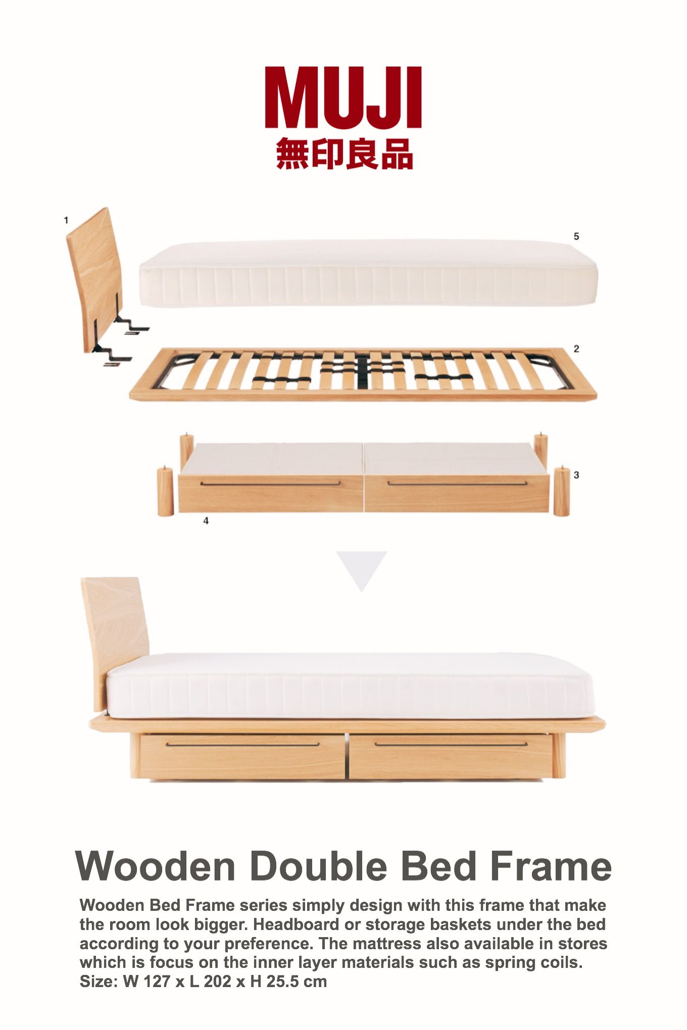 Muji Wooden Double Bed Frame | furniture | Pinterest | Wooden double ...