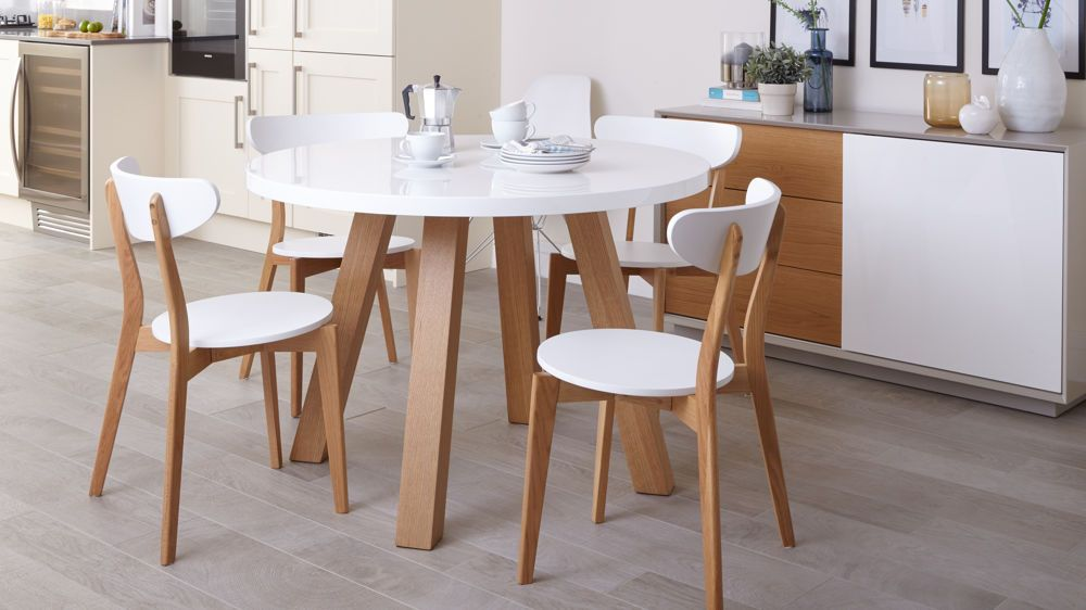 arc oak and white gloss and senn oak dining set - White Round Dining Table