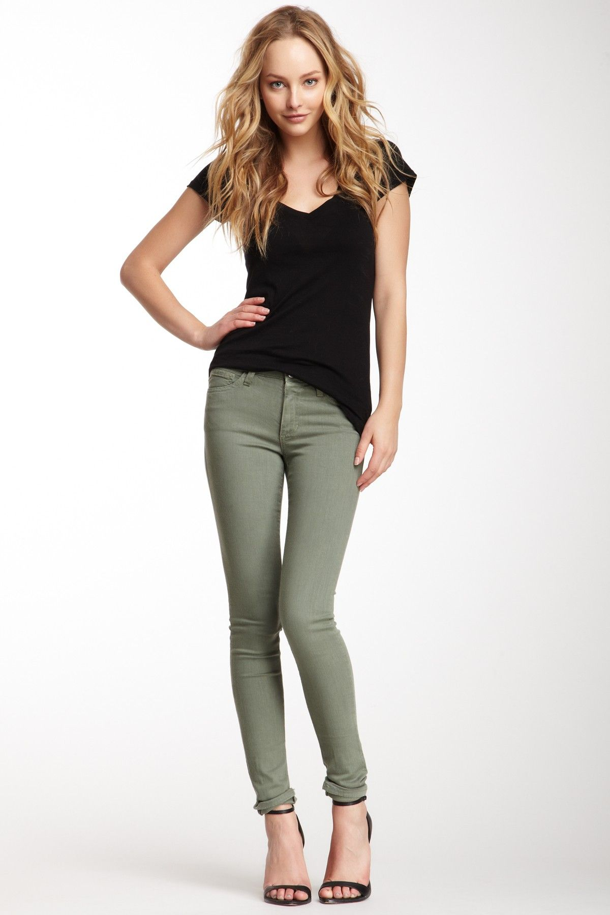 Business casual work outfit: black tee, olive skinnies. I'd top with a blazer & wear with heels or boots.