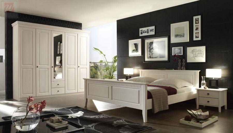 Schlafzimmer Mit Bett 180 X 200 Cm Kiefer Massiv Weiss Lasiert - schlafzimmer massiv komplett