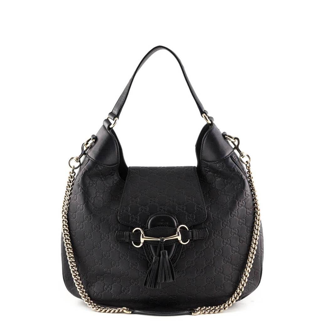 df57ec52d155 Gucci Black Guccissima Emily Hobo Bag - LOVE that BAG - Preowned Authentic  Designer Handbags