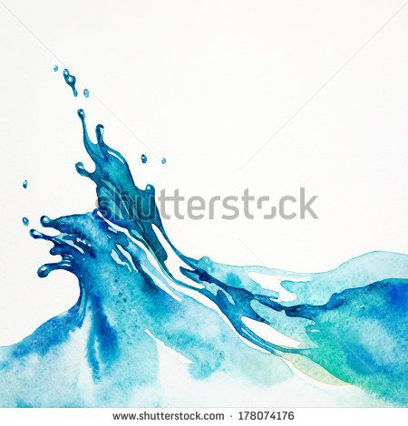Watercolor Background Water Splash Isolated On White Watercolor