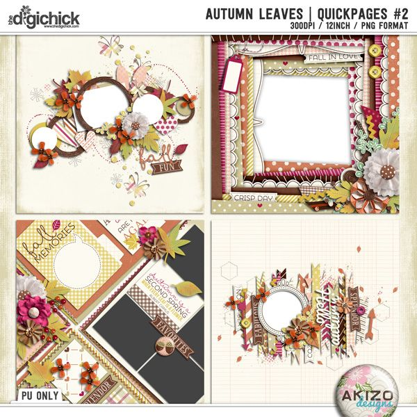 Autumn Leaves | Quickpages #2 by Akizo Designs (Digital Scrapbooking)