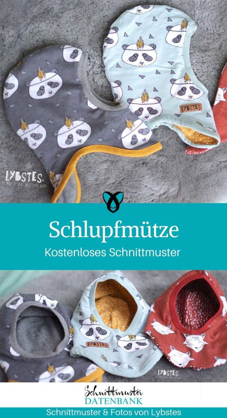 Schlupfmütze nähen kostenloses Schnittmuster Kinder Babys Nähidee Freebie gratis download Mütze warm winter mit Hals