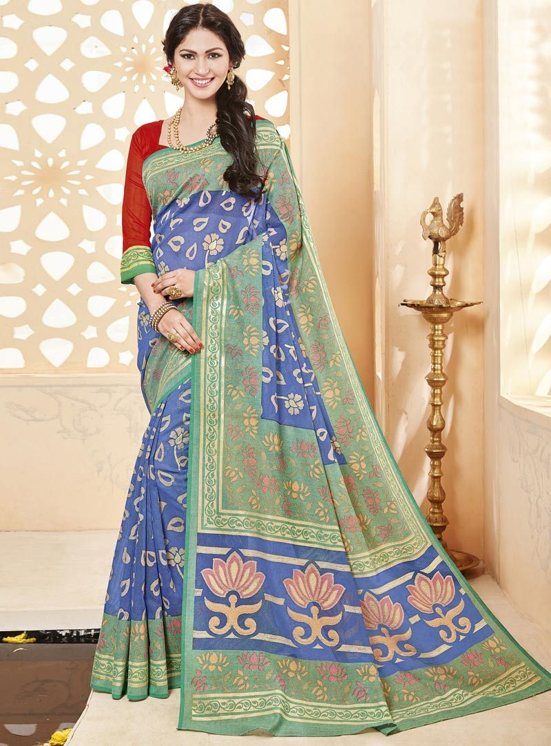 Blue Art Silk Printed Saree With Blouse 90946