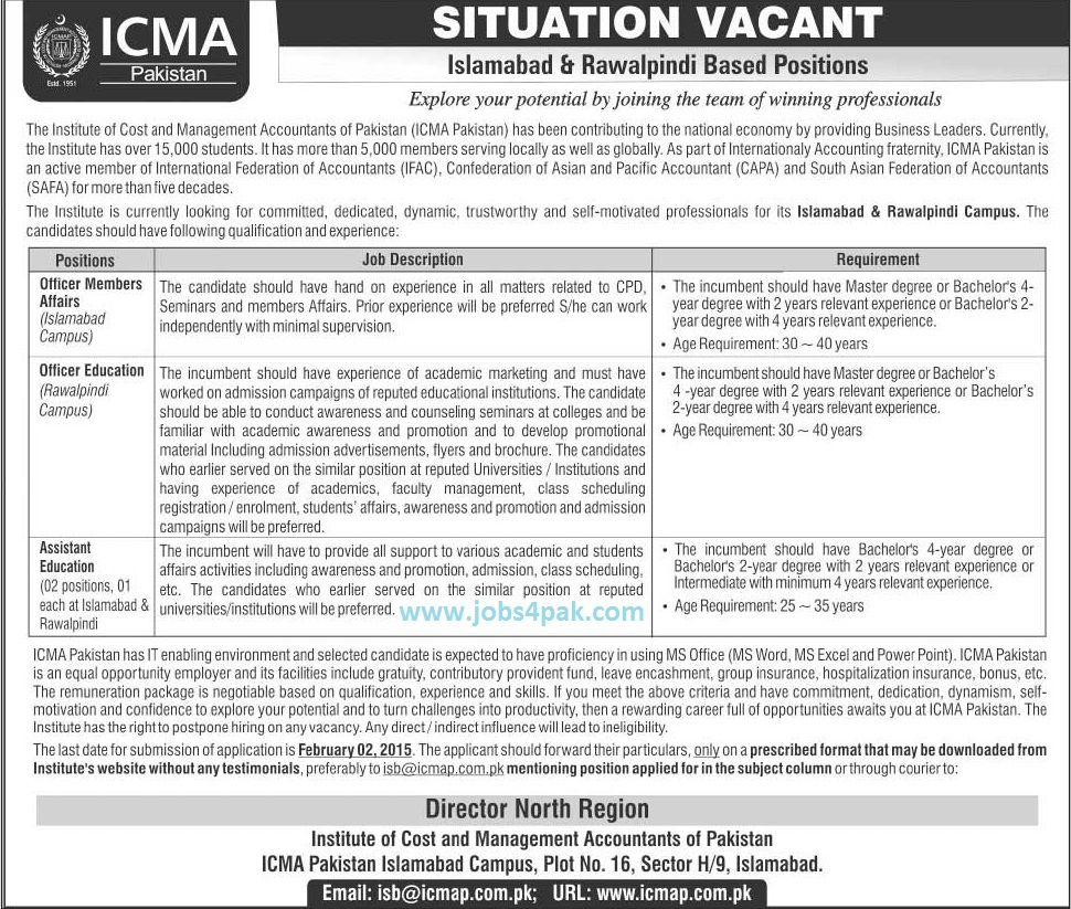 Jobs 2015 in ICMA Pakistan,The Institute of Cost and