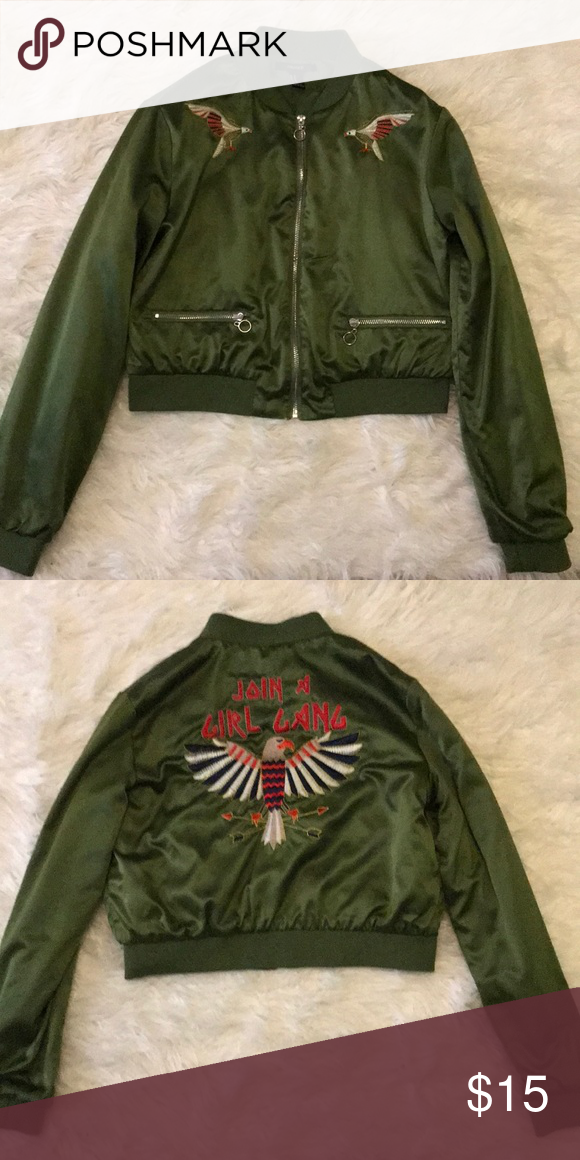 """21e11a69a3c2 Forever 21 bomber jacket. A worn green bomber jacket with """"Join a girl  gang"""" embroidered on the back. Excellent condition. Forever 21 Jackets    Coats"""