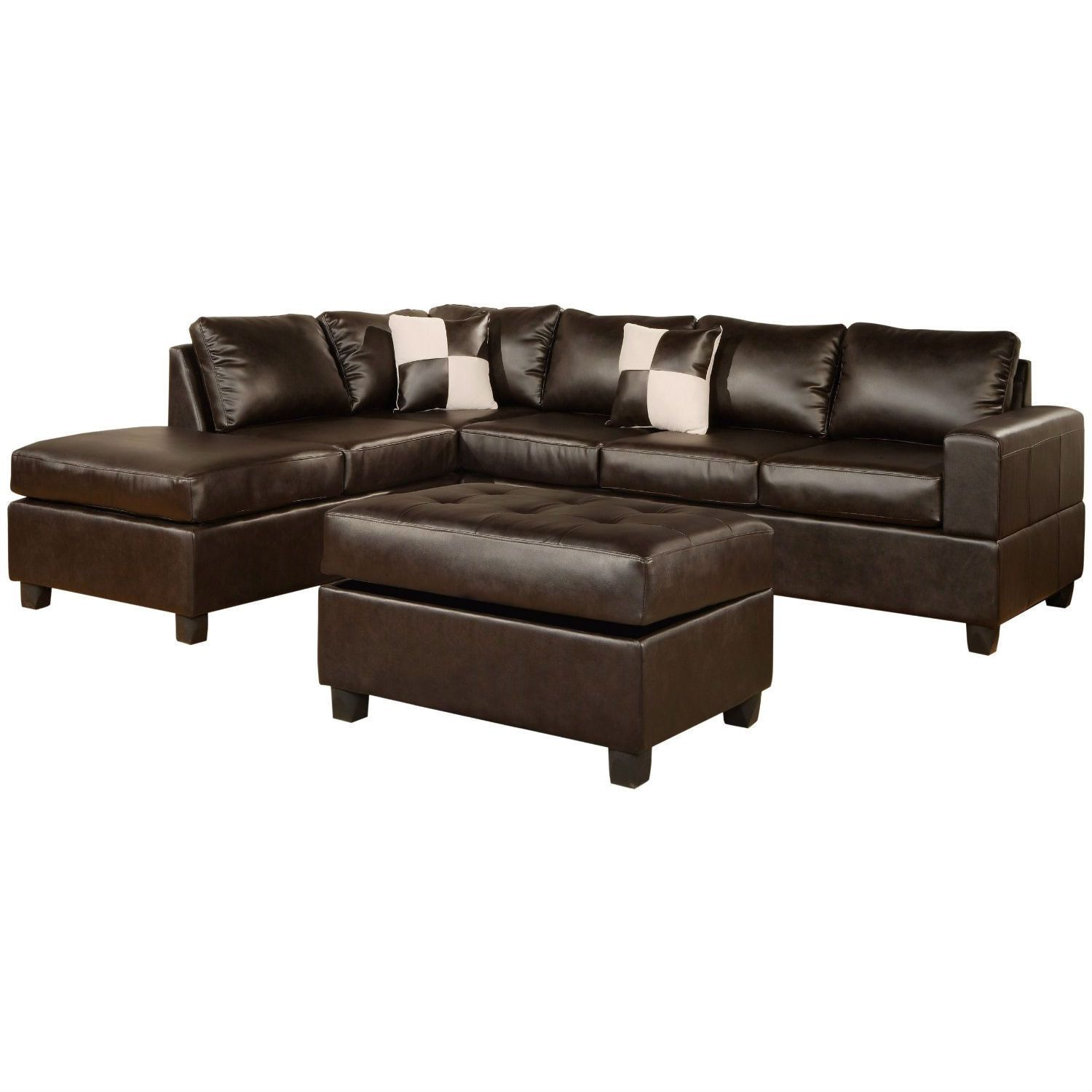 Reversible Soft Touch Faux Leather 3 Piece Sectional Sofa Set