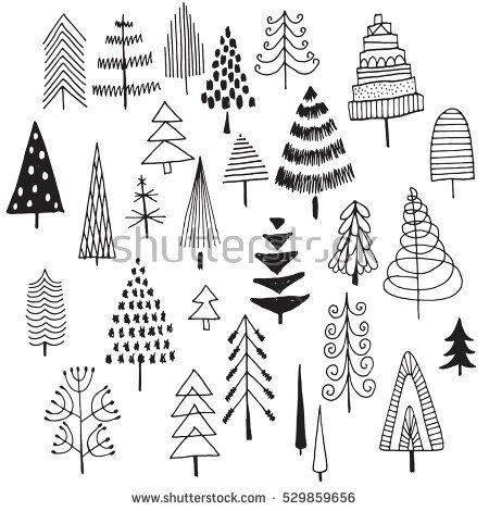 Set Of Hand Drawn Christmas Trees Black And White Doodle Sketch Christmas Tree Drawing Christmas Doodles Tree Doodle