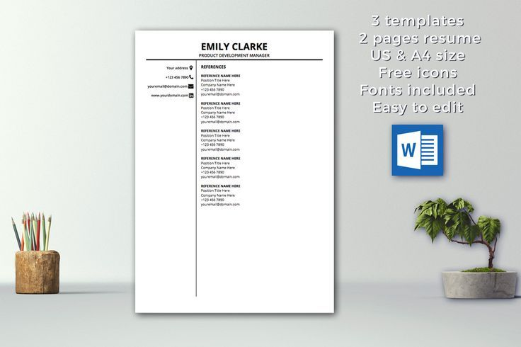Modern Resume Template Instant Download 1  2 pages CV Template - resume 1 or 2 pages