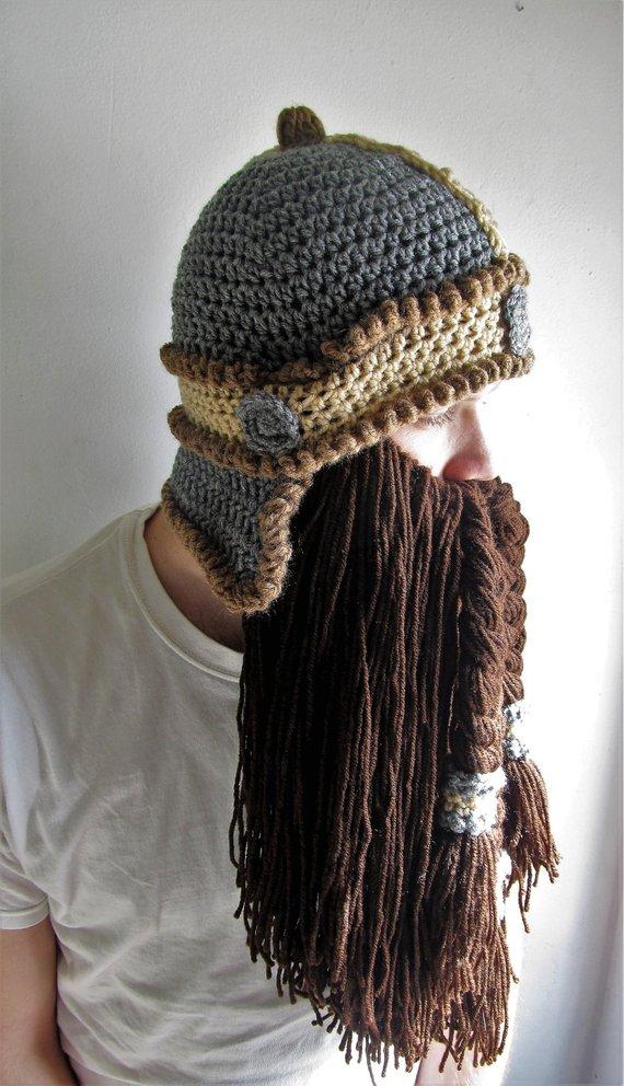 Viking beard hat  crochet dwarf helmet  viking costume  adult crochet beanie   cosplay beard hat  d d 8ae67aafb84