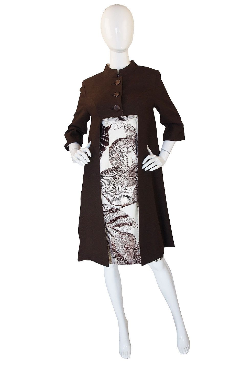 1960s Rayon Print Dress & Unusual Jacket