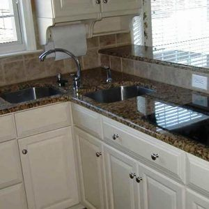 Kitchen Corner Sink Cabinet Designs A Stainless Steel Interior Installed On Attractive Granite Countertop