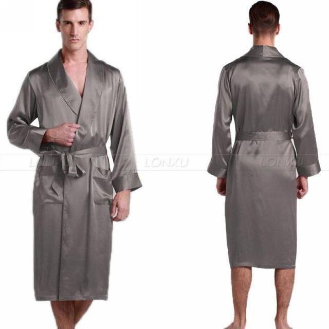 Buy Mens Nightgown Silk Satin Men\'s Sleepwear at LeStyleParfait.Com ...