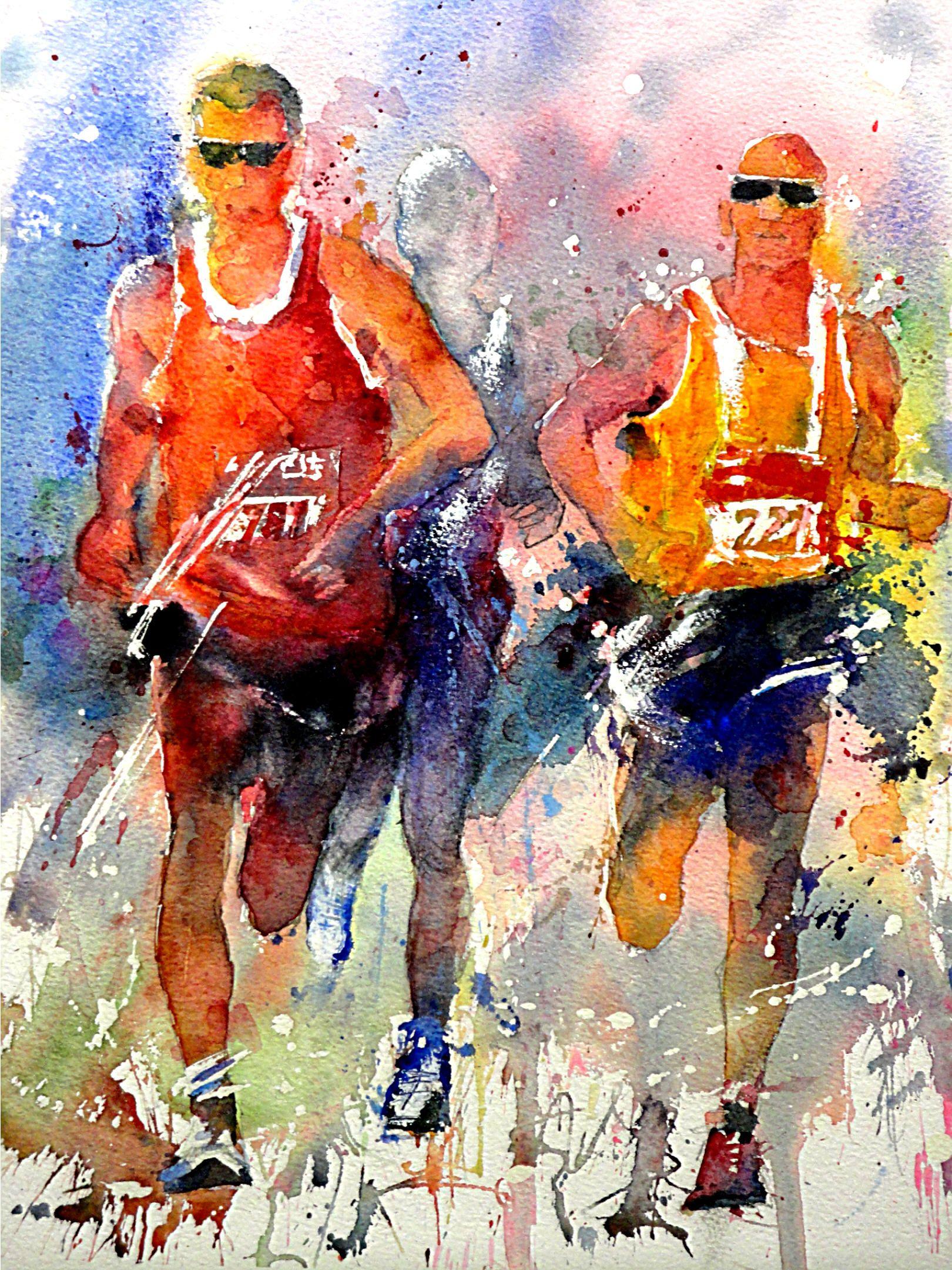 """*Watercolor - """"Marathon"""" by Gerard Hendriks"""
