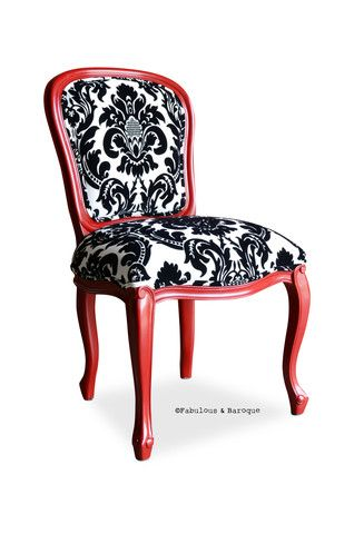 Fabulous & Baroque French Side Chair - Red w/ Black & White Damask