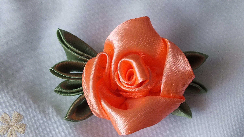 Мк цветок из атласных лент, букеты цветов