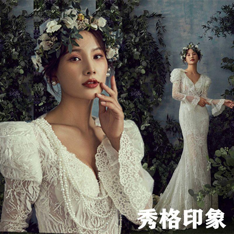Buy Studio theme brigade shoots light wedding dress deep V