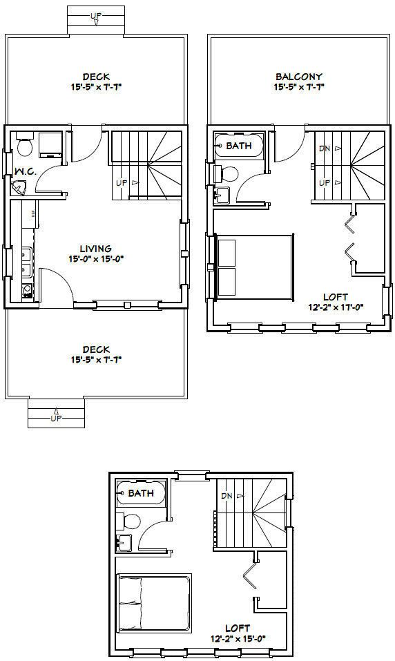16x16 Tiny House 671 Sqft Pdf Floor Plan Model 22b Ebay Floor Plans House Plans Cabin Floor Plans