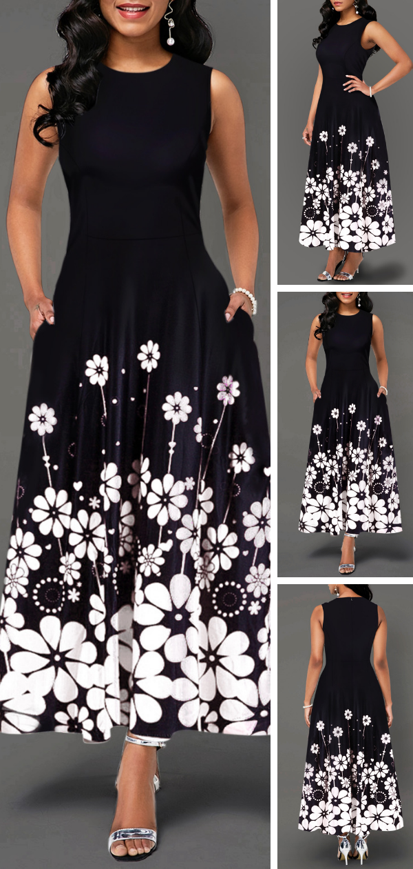 Flower Print Round Neck Sleeveless Maxi Dress  #blacksleevelessdress