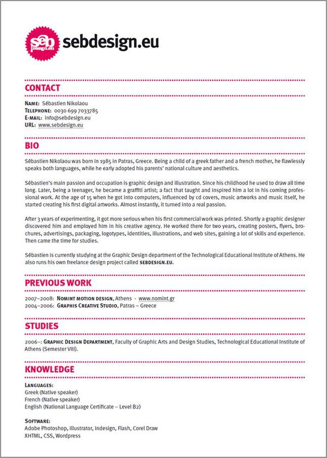 Sebdesign Graphic Design Resume Cv Design Creative Resume