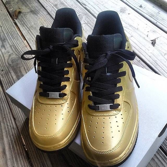 Nike Air Force 1 Low Customized to All Black Gold Custom