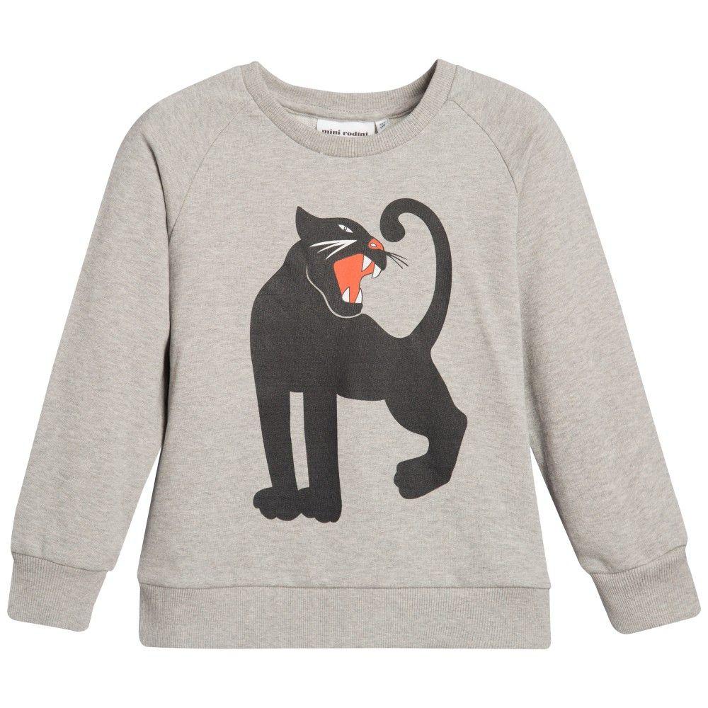 Grey Organic Cotton 'Black Panther' Sweatshirt, Mini Rodini