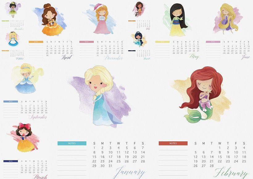 Calendario 2017 de las Princesas Disney para Imprimir Gratis. | 4 ...