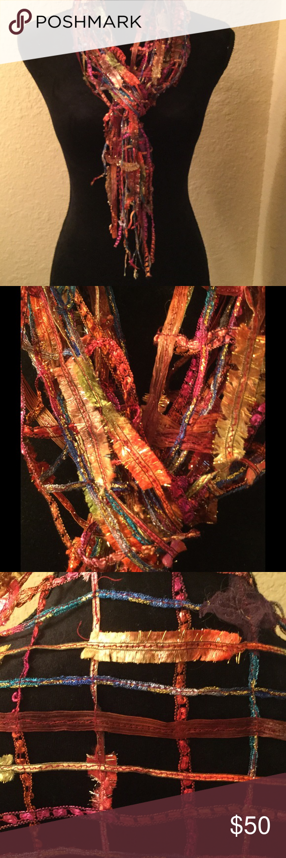 NWOT Gorgeous Art Scarf Beautiffully intricate, one of a kind jewel-toned artsy, open-weave, handmade scarf..  Picture doesn't do justice!  Perfect for jacket/dress - silk, so not for warmth, only bling! Handmade Accessories Scarves & Wraps