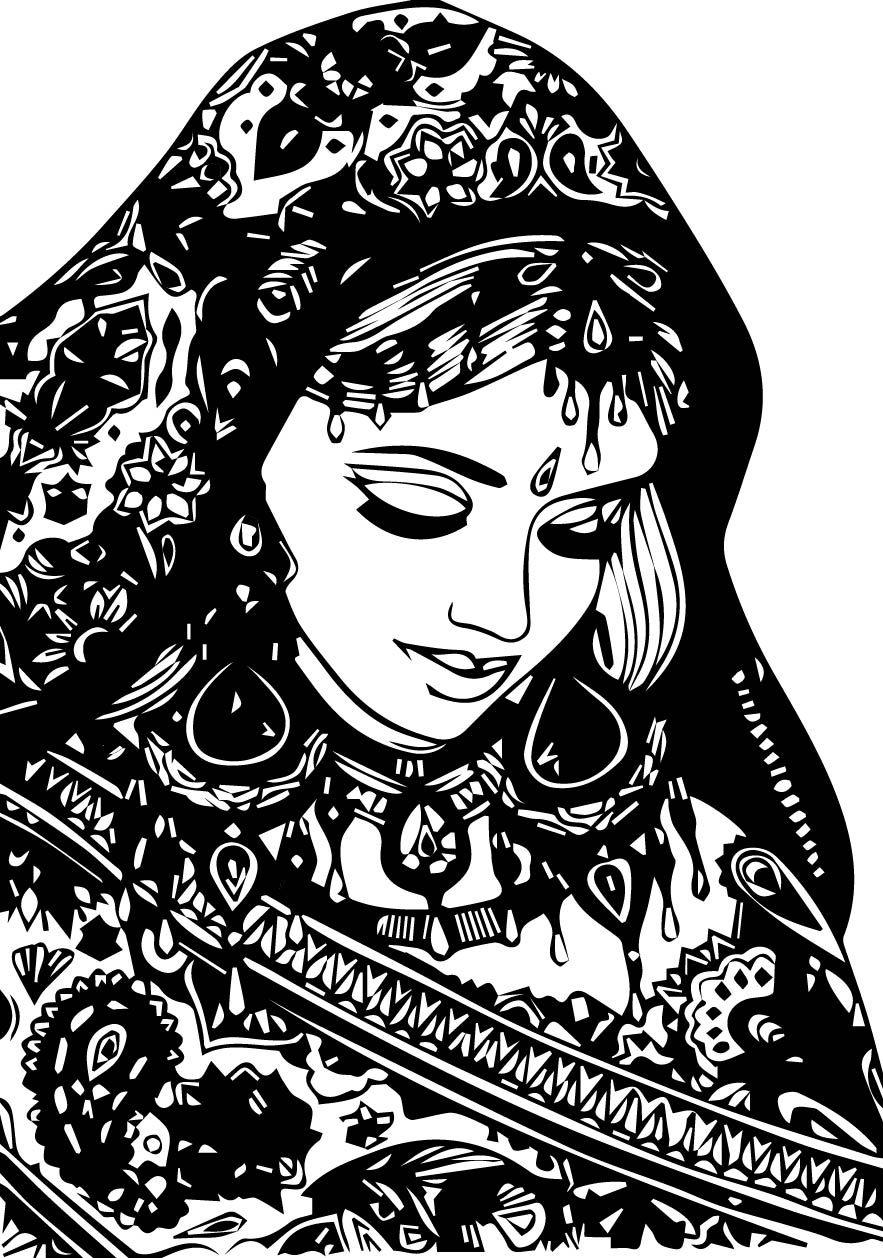 arabic woman india coloring page   Mcoloring   Ausmalen, Vorlagen